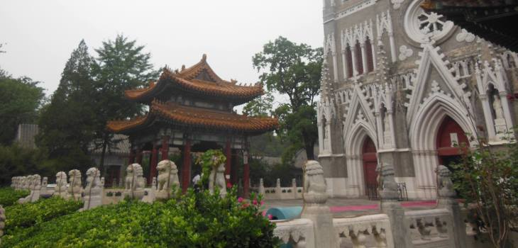 An architectural mixture of Western Gothic cathedrals and Chinese temples, Xishiku church, Beijing, 2014
